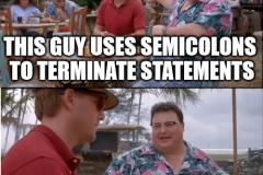 Semicolons nobody cares